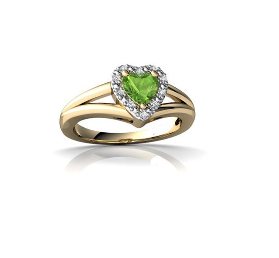 Engagement ring heart peridot gemstone set with by for Peridot wedding ring set