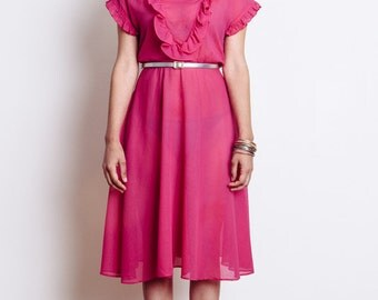 60's Sheer Pink Ruffle Dress