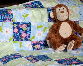 Groovy Monkeys Purple and Green Flannel Snuggly Patchwork Baby Blanket