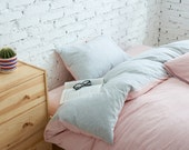 4-Piece Pink Stripe Duvet Cover Set King & Queen Size Knitted Cotton