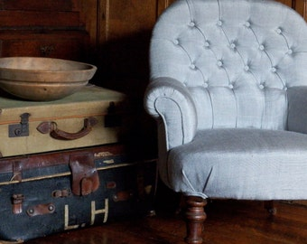 Newly Upholstered Victorian Armchair.