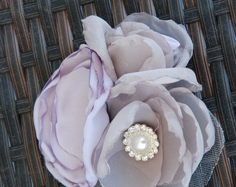 Triple lavender and taupe fabric flower cluster hair clip