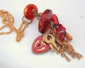 Vintage buttons lock and key red and copper resistor recycled necklace steam punk geek