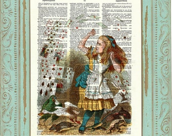 Alice in Wonderland. Vintage Dictionary art print. Alice decor. Alice print. Print on book page. Queen of hearts. Code:009