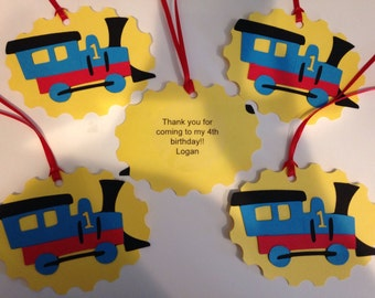 12 Large Train Favor Tags (with message) Thomas the Train