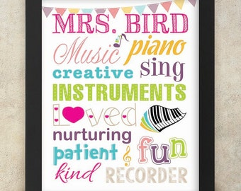 Music Teacher Gift Personalized Art with Name - 8x10 digital print Teacher Appreciation