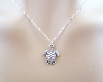 Cute, Turtle, Silver, Necklace, Animal, Jewelry, Minimal, Dainty, Jewelry, Friendship, Best friend, Sister, Gift, Accessory, Jewelry