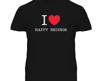 I Heart Luv Love Happy Endings T Shirt