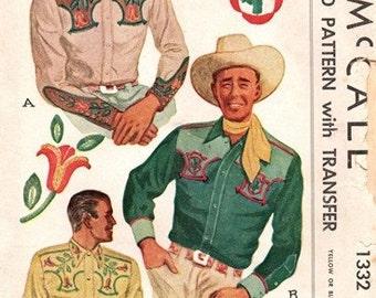 McCall 1332 Singing Cowboy's Western Shirt + Transfer 1947 / CHEST42 UNCUT
