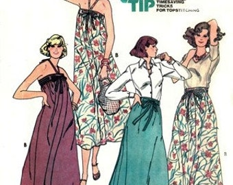 Butterick 6140 Island Vacation Wrap Pareo Dress & Wrap Skirt  1970's / SIZE-PETITE UNCUT
