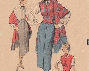 Advance 5582 Ivy League Blouse, Waistcoat, Skirt & Stole / ca. 1950 / SZ14 Complete