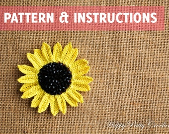 Crochet Sunflower Pattern and Instructions - Crochet Flower Pattern - Crochet Pattern - Crochet Applique Pattern - INSTANT DOWNLOAD - P072