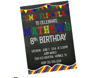 Jump Flip and Play Moonwalk Birthday Party Invitation - Trampoline - Digital or Printed