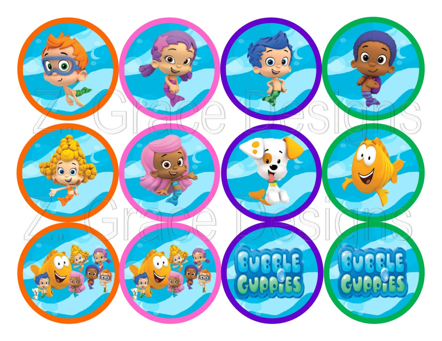 bubble guppies cake toppers guppies cupcake toppers digital file by 2100