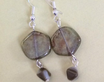 Silver plated glass earrings