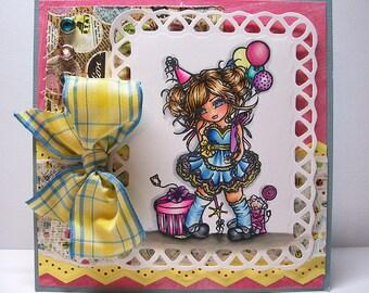 Digital Stamp - Instant Download - Birthday Girl Digi Stamp - Fantasy Line Art for Cards & Crafts by Artist Hannah Lynn for Crafts and Me