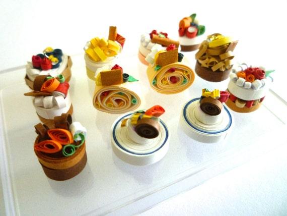 Articles similaires g teaux miniatures ensemble 12 pcs for Quilling kitchen set