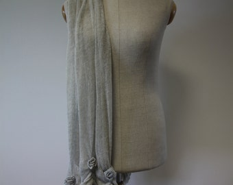 Long scarf with roses, delicate, romantic, 100% linen, folds, light grey.