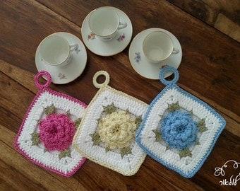 Blue crochet vintage pot holder