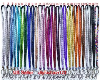 Sale !! 1 Pieces New Rhinestone Bling Crystal Custom Lanyard /  ID Badge Cell Phone Key Chain Holder