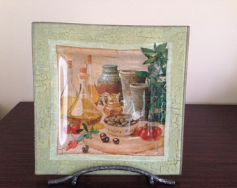 "Square Glass Decoupage Plate ""Olives"", Home decor"