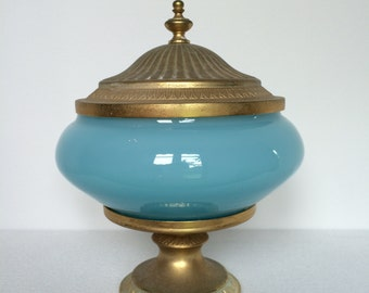 19th Century French Blue Opaline Glass Dish with Lid