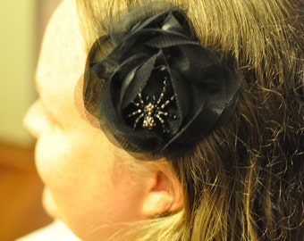 Black Rose with Spider Hair Clip