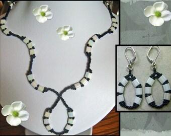 Black & White  Wavy Necklace, Earrings
