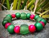 Pink and Green Beaded Bracelet, Wood Bead Bracelet, Green Recycled Glass Beads, Seed Beads, Alpine Pink Bracelet from The Earth Collection