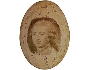 French Script Decoupage Egg Monsieur
