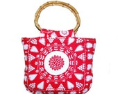 Red hearts handbag, canvas tote bag,gift idea for valentine