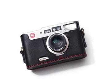 Handstitching Leica CM Case, Leica CM Leather Cameras Case, Leather Camera Half Case Protector