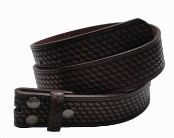 1 Piece Western Basket Weave Snap On Belt NC92