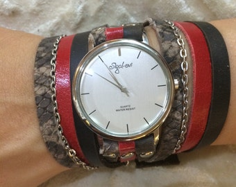 Women's Watch,Watches For Women,Unique Watches, Red Watch,Brown Watch,Bracelet Watch,Wrap Watch,Watch,Leather Watch,Watches,Sigal Levi