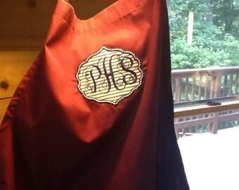 Personalized, appliquéd, monogrammed apron,