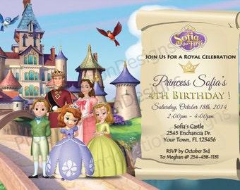 Disney' Sofia The First Invitation. Sofia The First Party Invites. 5x7, 4x6 Digital File Birthday Printable Invitation