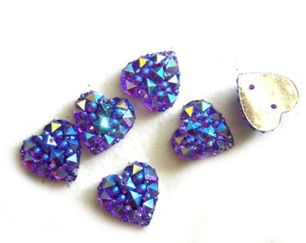 6 Purple and Blue Sparkly Buttons