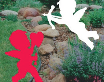 Valentine's Day Cupid Silhouette Pair Outdoor Wood Yard Art Lawn Decoration