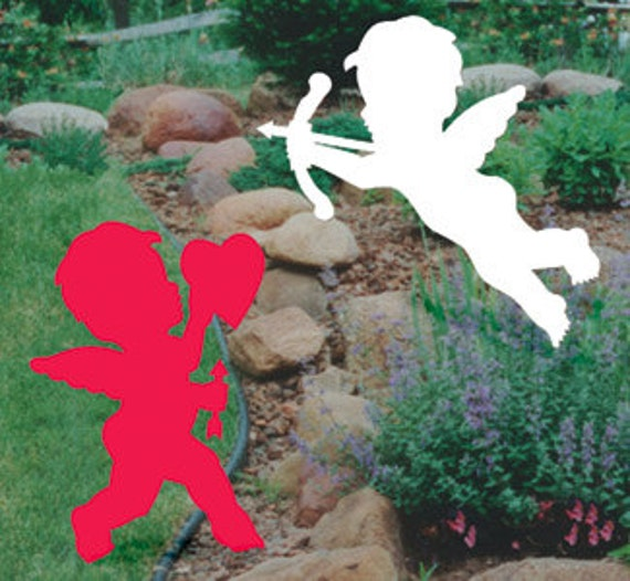 Valentine 39 S Day Cupid Silhouette Pair Outdoor Wood Yard