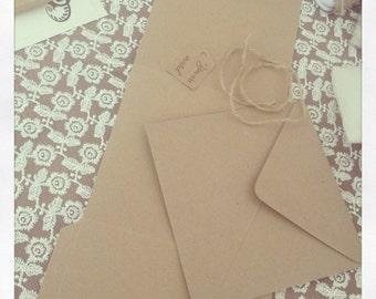 DIY Vintage Pocket Fold Wedding Invitation, Envelope, Tag and Twine sample Kit