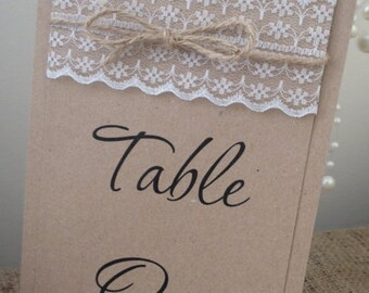 1 Rustic/Vintage Shabby chic Style 'Sophie'/'Rebecca' wedding table number with lace