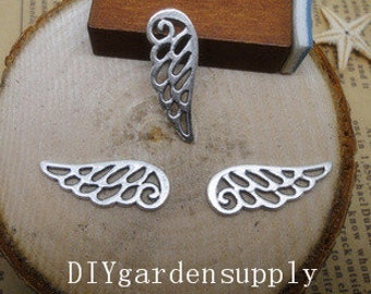 lead and nickel free--- 23x9mm antiqued silver angel wings zinc alloy charms findings