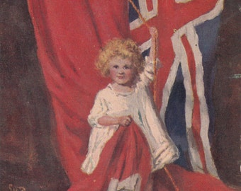 "Rare 1911 Patriotic Postcard ""CANADA"" Large Canadian & Union Jack Flag Little Girl"