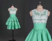 2016 short mint homecoming dress with white lace , simple taffeta bridesmaid gowns for girls , cheap cute prom dresses hot .