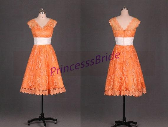 2016 Tea Length Orange Lace Bridesmaid Gownscheap Simple Maid