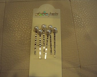 Ivory Pearl Bobby Pins,Set of Six Acrylic Dome Pearl Cabochons on silver Bobby Pins - Perfect for Bridal Party