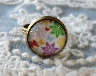1 Piece of 14 mm Colourful Flower Pattern Antiqued Bronze Fingerring  (.cm)