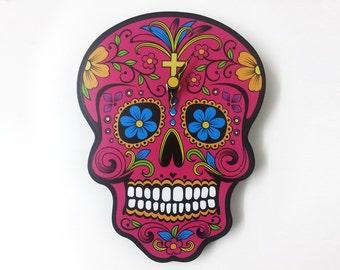 Fuchsia Sugar Skull - Day of the Dead -Dia de Los Muertos - Calavera - Wall Clock