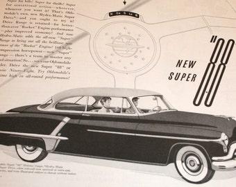 Oldsmobile ad, collectible art, Rocket Oldsmobile, 88, Vintage, Mad Men Era, 1960's Car Ad, Black and White wall decor