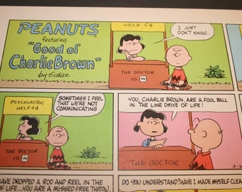 Charlie Brown and Lucy, The Doctor is In, Peanuts Comic Strip, Retro, Color Print, Charles M Schulz, Frame as you like, Wall Decor